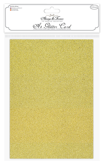 Happymade - Craft Consortium - Glitter Card - Gold (10 ark)